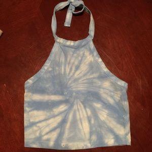 Blue Tie Dye Halter Top